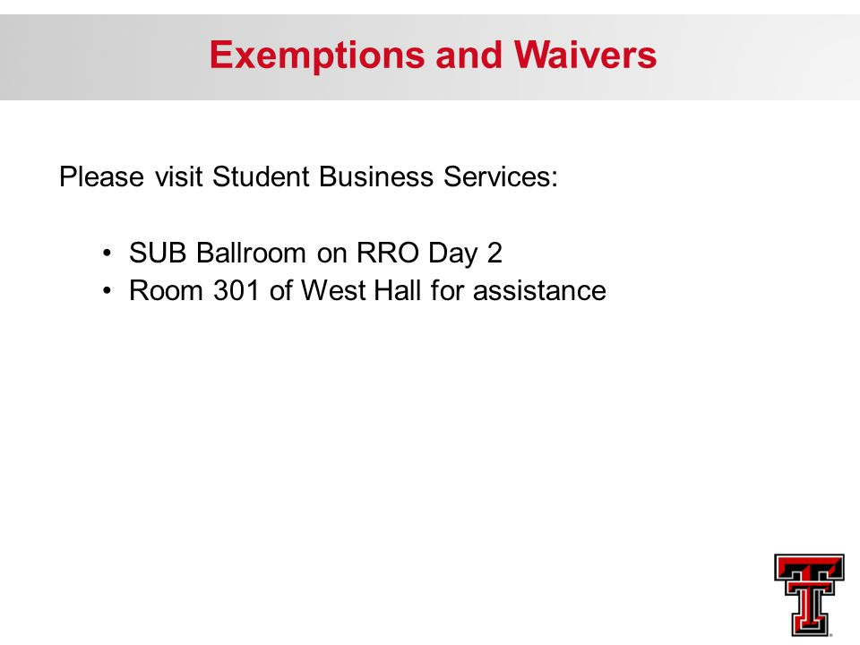 Exemptions and Waivers