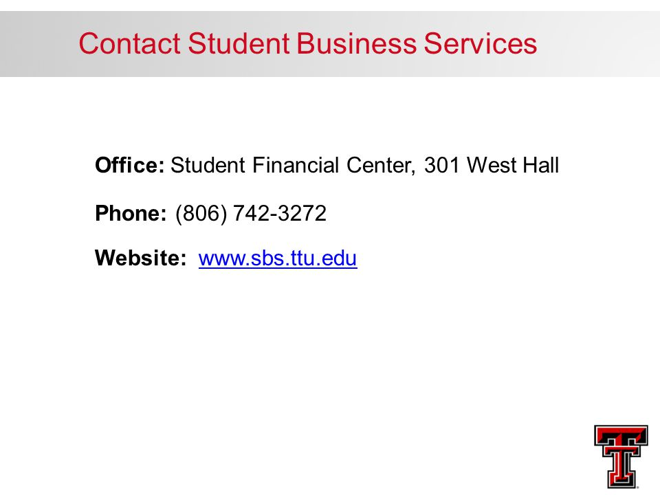 Contact Student Business Services