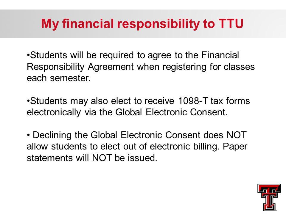 My financial responsibility to TTU