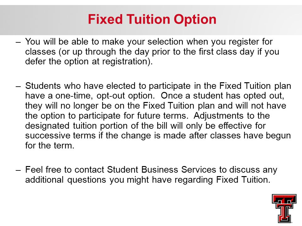 Fixed Tuition Option