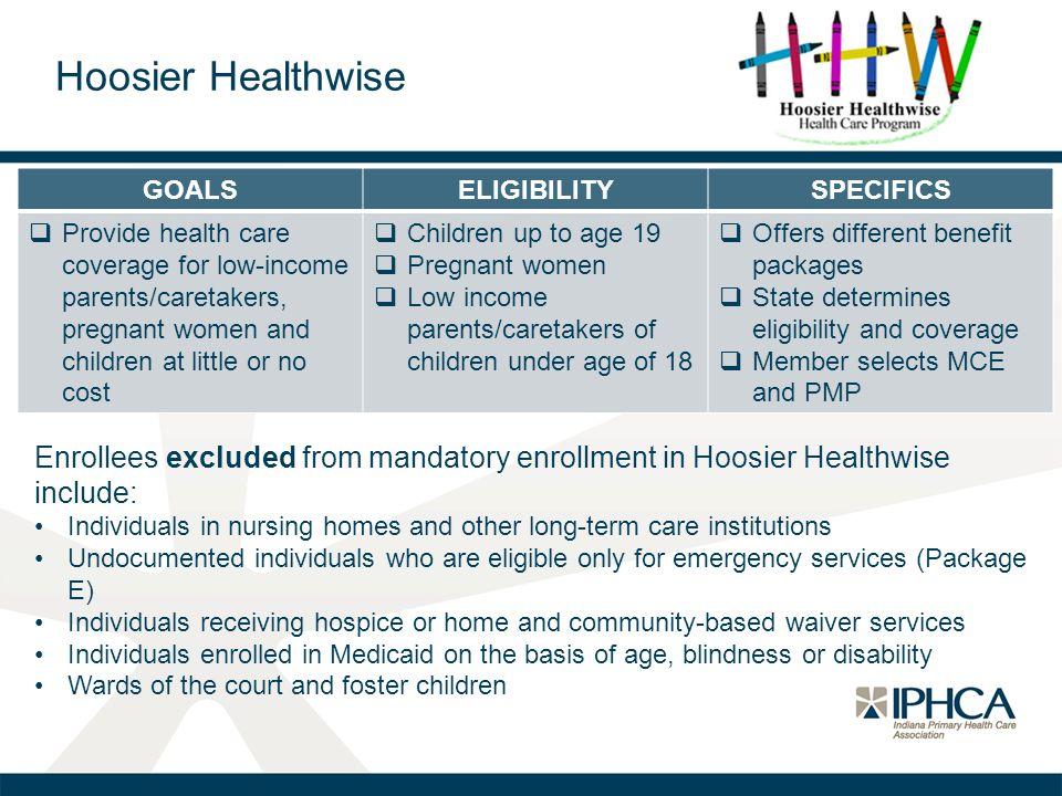 Hoosier Healthwise GOALS. ELIGIBILITY. SPECIFICS.