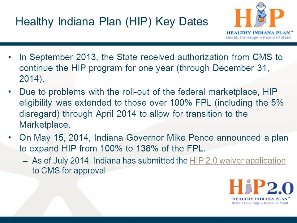 Healthy Indiana Plan (HIP) Key Dates
