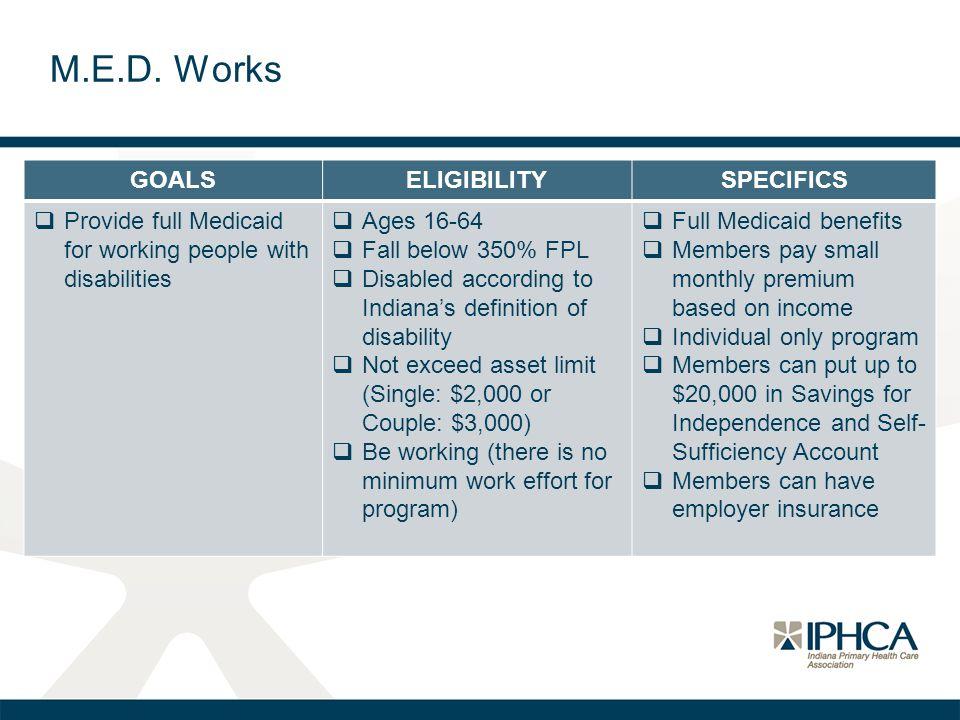 M.E.D. Works GOALS ELIGIBILITY SPECIFICS