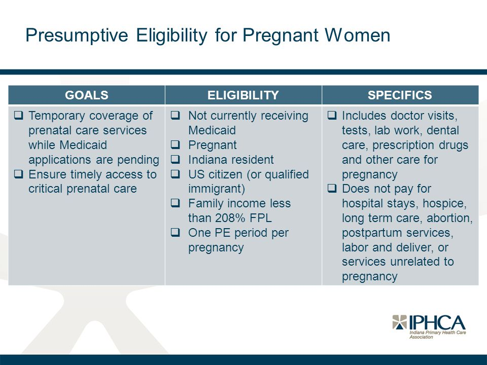 Presumptive Eligibility for Pregnant Women