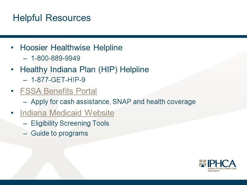 Helpful Resources Hoosier Healthwise Helpline