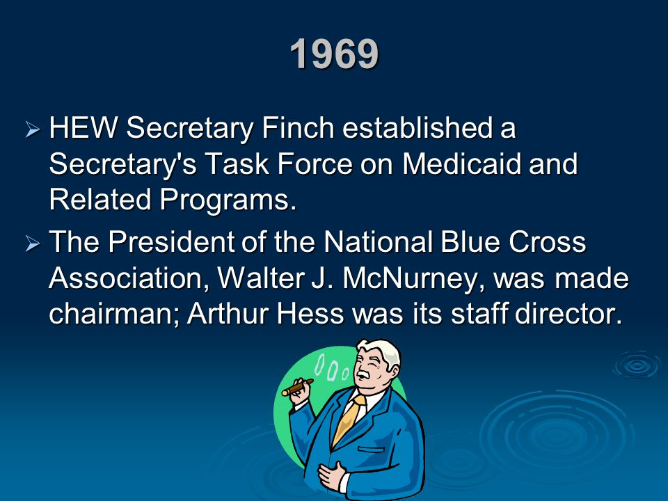 1969 HEW Secretary Finch established a Secretary s Task Force on Medicaid and Related Programs.