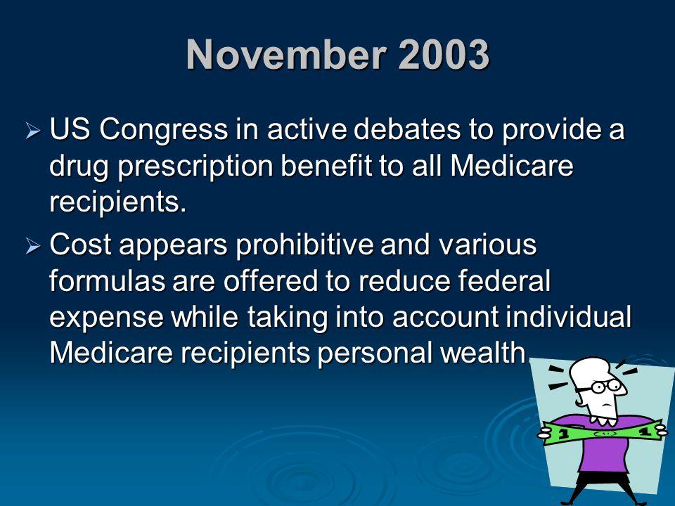 November 2003 US Congress in active debates to provide a drug prescription benefit to all Medicare recipients.