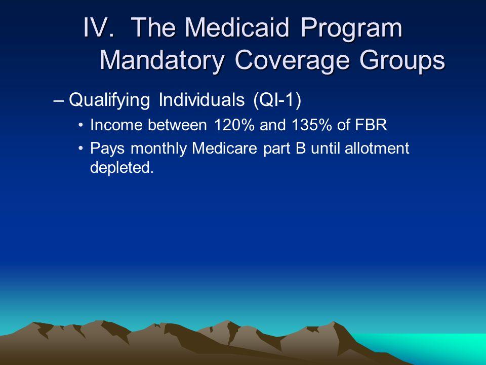 IV. The Medicaid Program Mandatory Coverage Groups