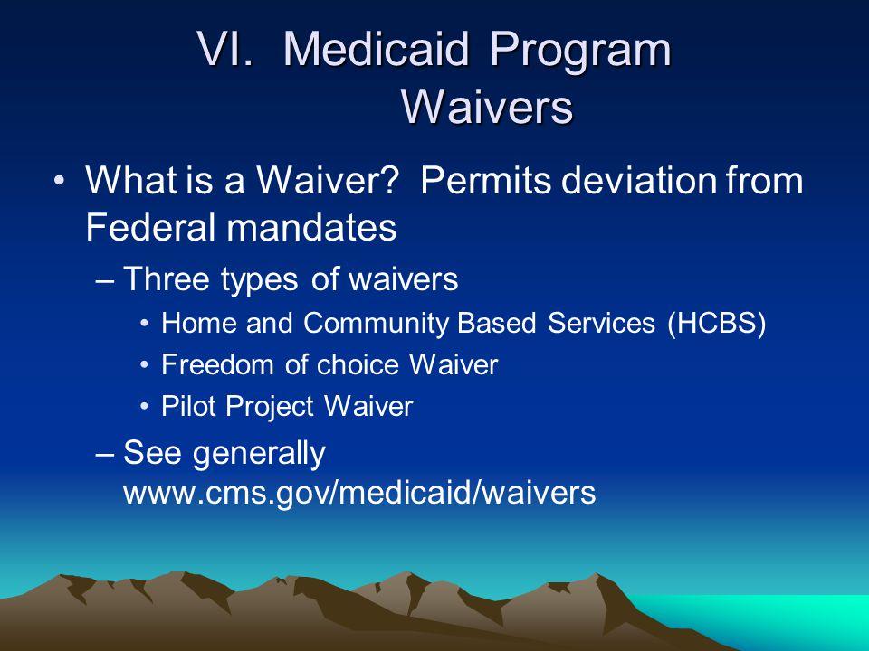 VI. Medicaid Program Waivers