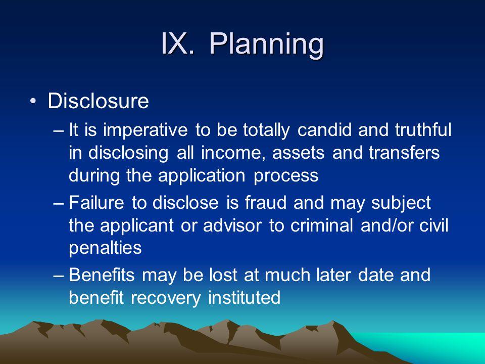 IX. Planning Disclosure