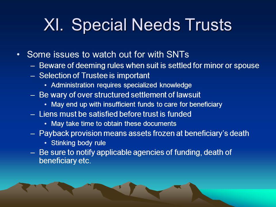 XI. Special Needs Trusts
