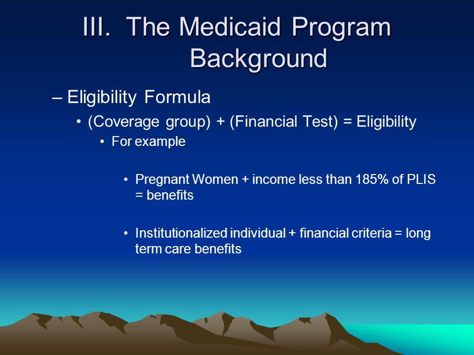 III. The Medicaid Program Background
