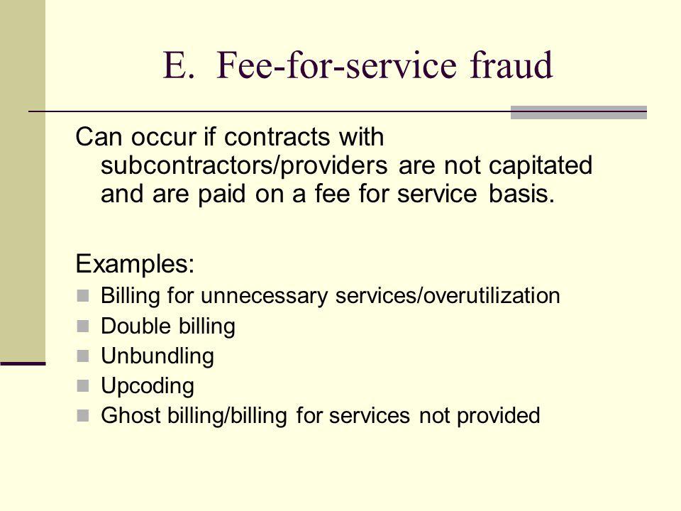 E. Fee-for-service fraud