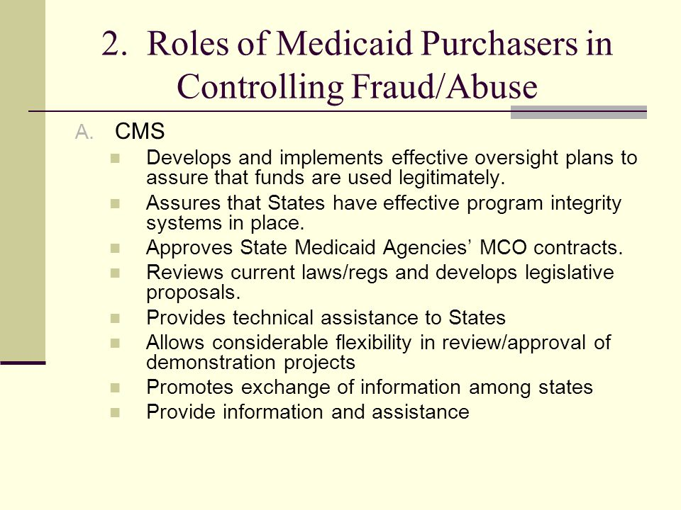 2. Roles of Medicaid Purchasers in Controlling Fraud/Abuse