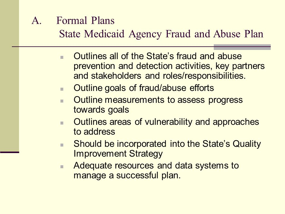 Formal Plans State Medicaid Agency Fraud and Abuse Plan