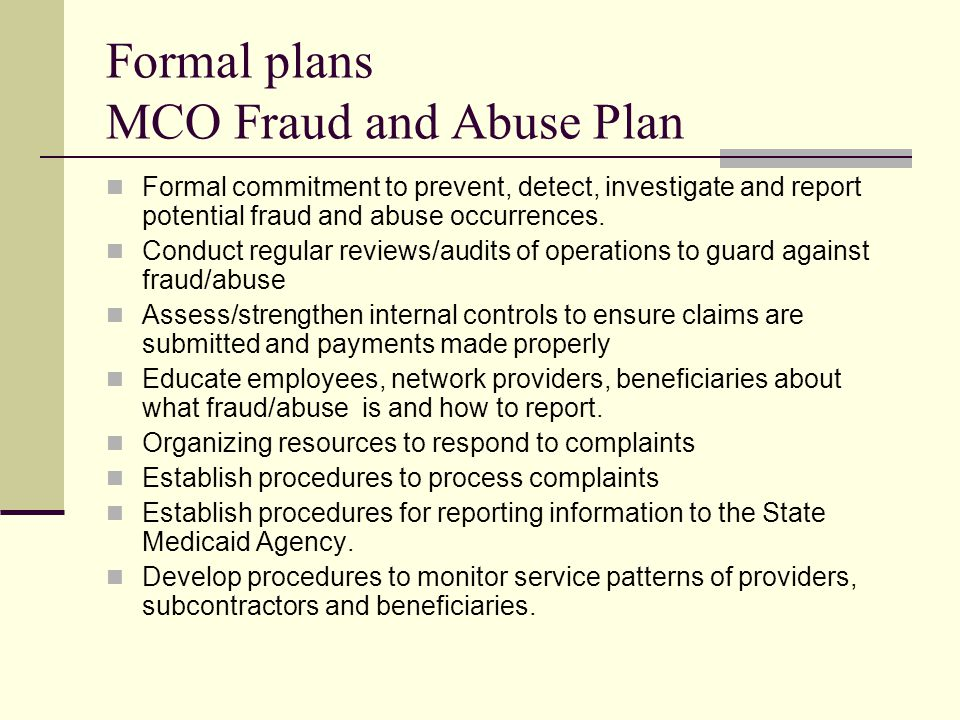 Formal plans MCO Fraud and Abuse Plan