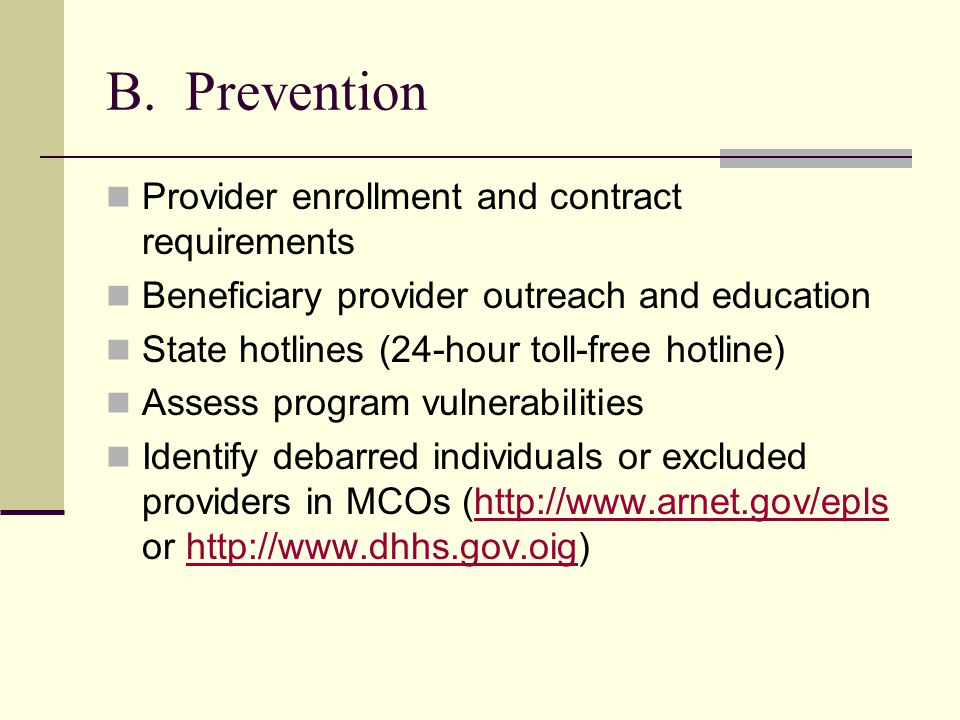 B. Prevention Provider enrollment and contract requirements