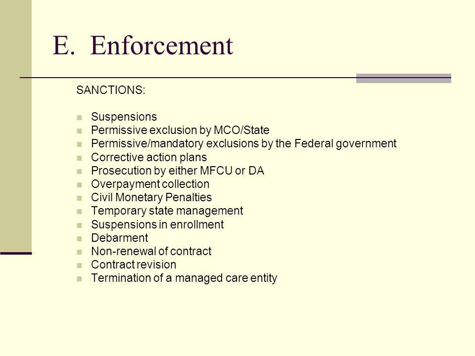 E. Enforcement SANCTIONS: Suspensions