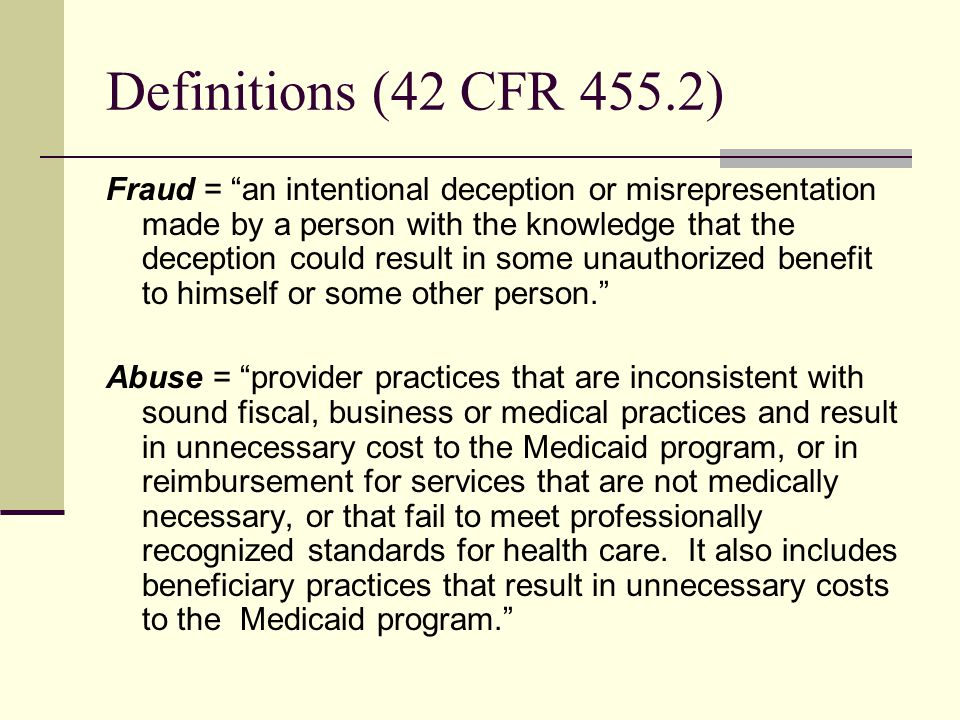 Definitions (42 CFR 455.2)
