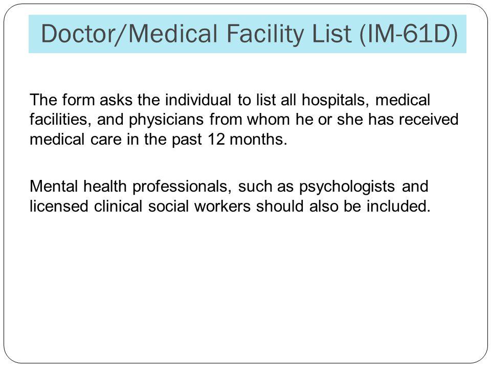 Doctor/Medical Facility List (IM-61D)