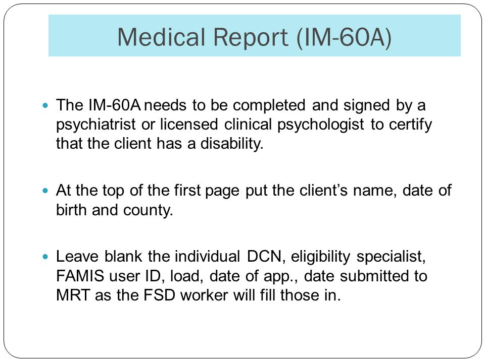 Medical Report (IM-60A)