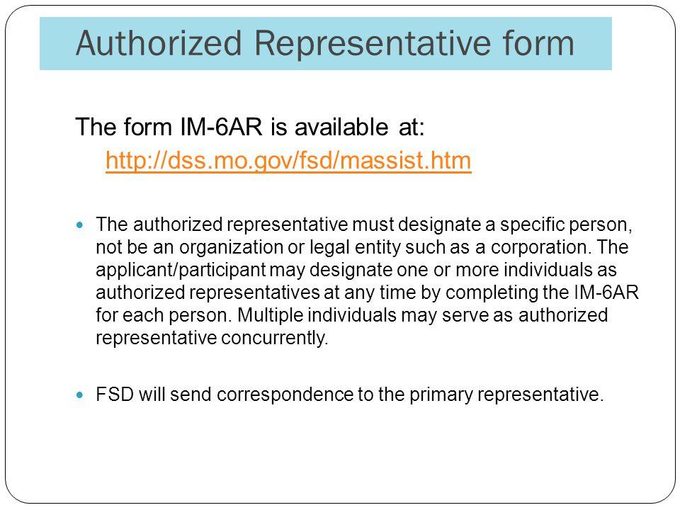 Authorized Representative form