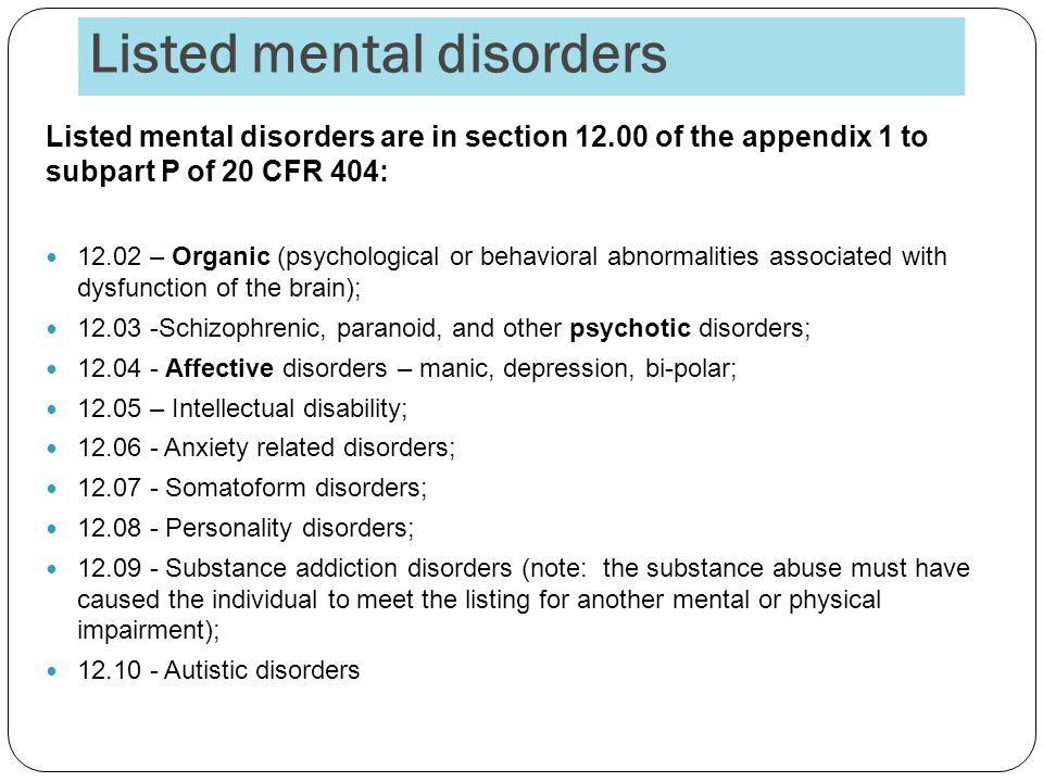 Listed mental disorders