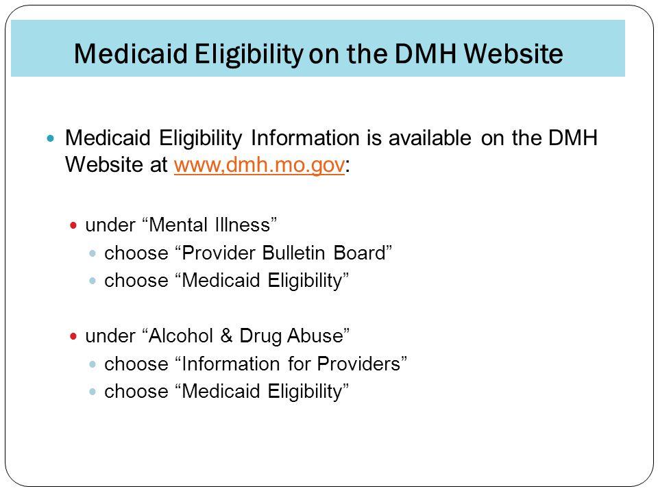 Medicaid Eligibility on the DMH Website