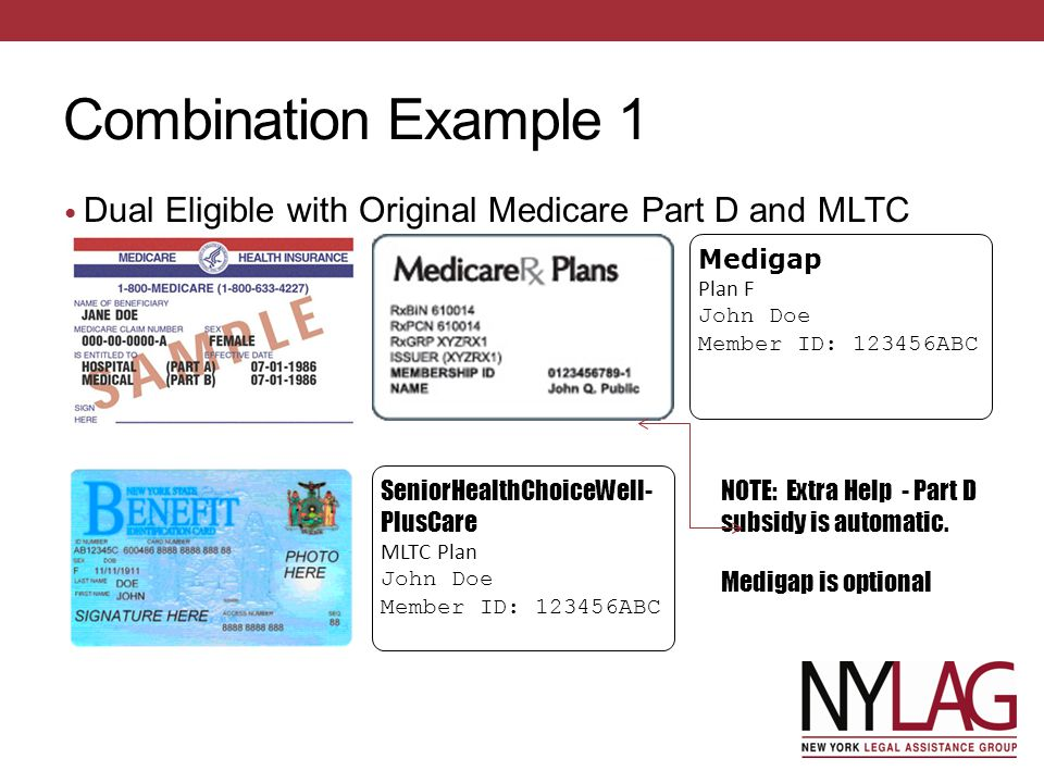 Combination Example 1 Dual Eligible with Original Medicare Part D and MLTC. Medigap. Plan F. John Doe.