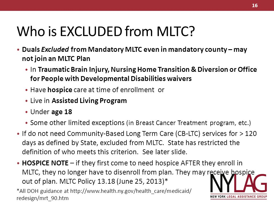 Who is EXCLUDED from MLTC
