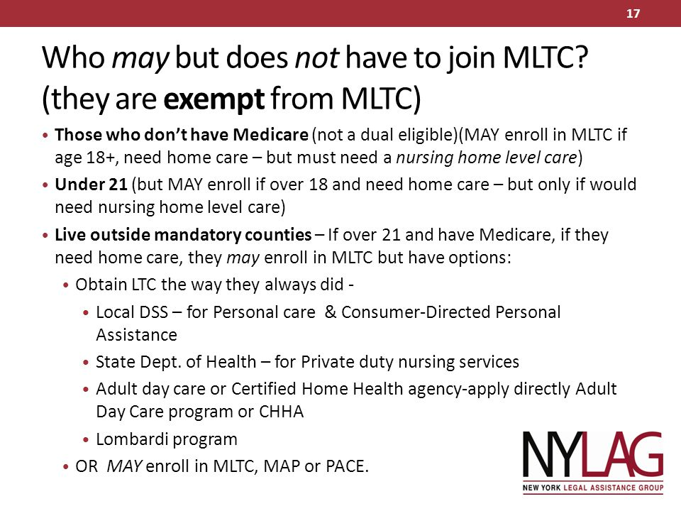 Who may but does not have to join MLTC (they are exempt from MLTC)