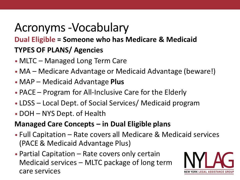 Acronyms -Vocabulary Dual Eligible = Someone who has Medicare & Medicaid. TYPES OF PLANS/ Agencies.