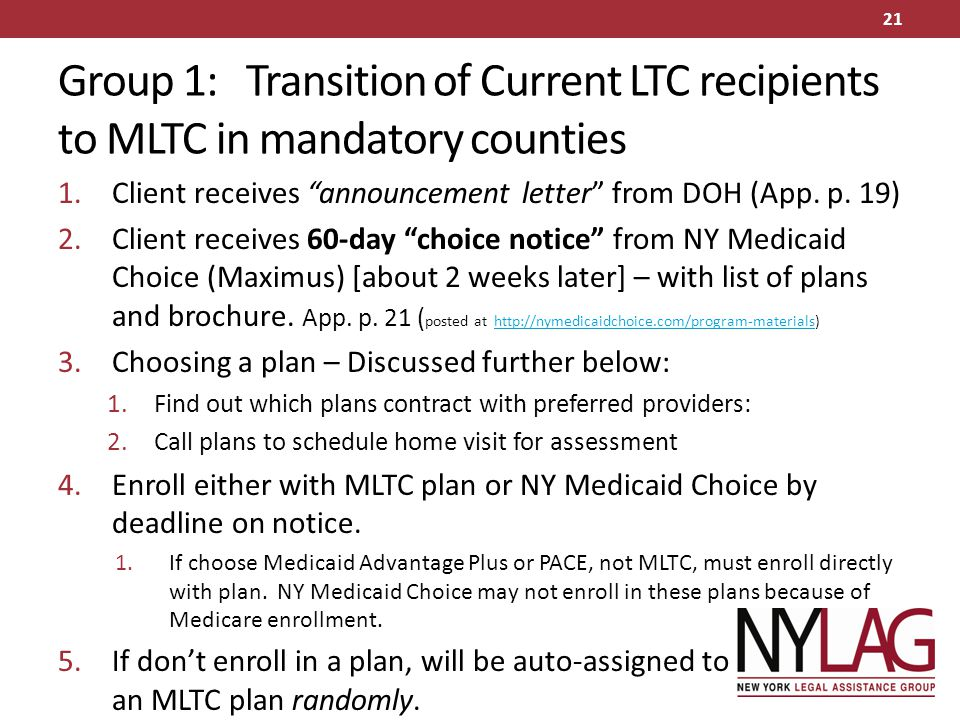 Group 1: Transition of Current LTC recipients to MLTC in mandatory counties