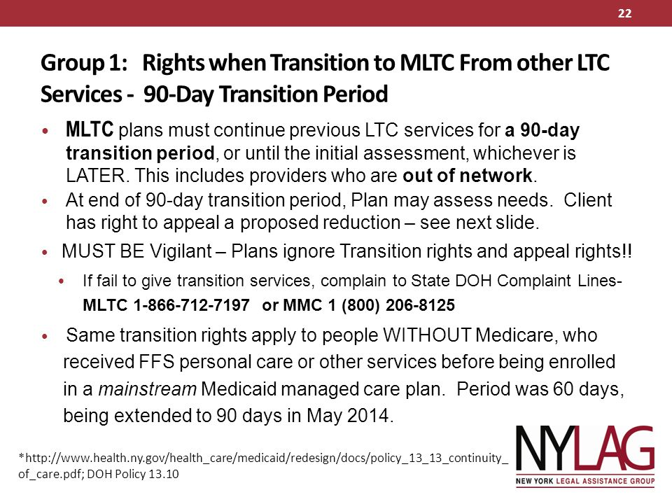 Group 1: Rights when Transition to MLTC From other LTC Services - 90-Day Transition Period