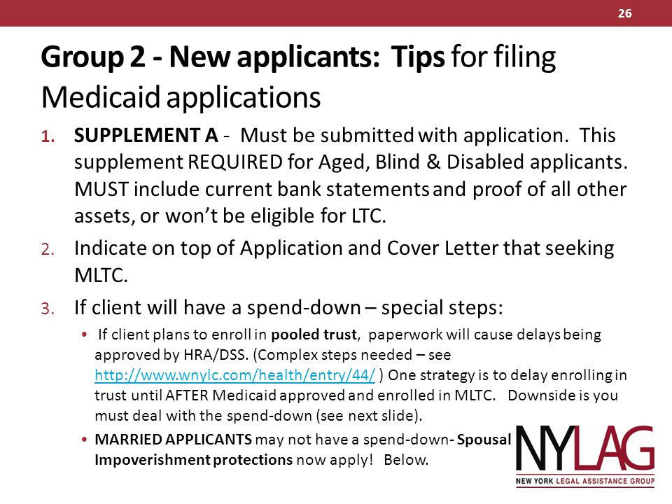 Group 2 - New applicants: Tips for filing Medicaid applications