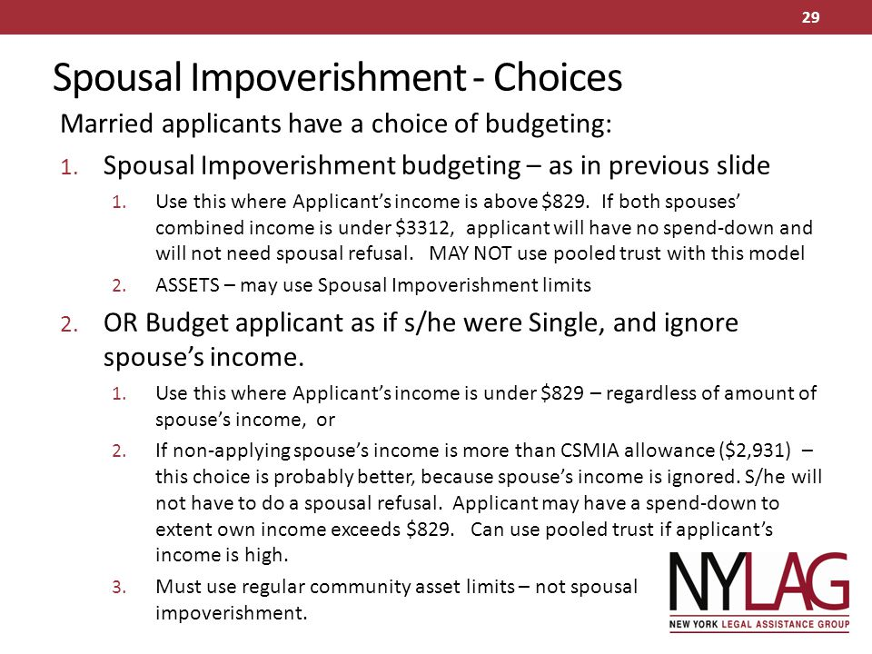 Spousal Impoverishment - Choices