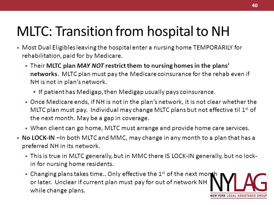 MLTC: Transition from hospital to NH