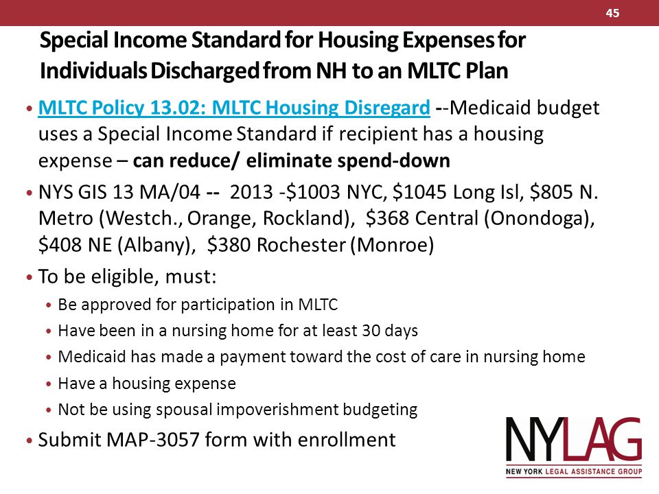 Special Income Standard for Housing Expenses for Individuals Discharged from NH to an MLTC Plan