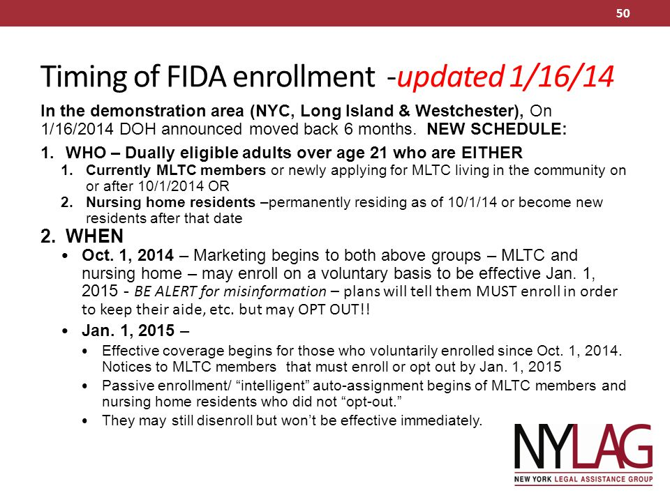Timing of FIDA enrollment -updated 1/16/14