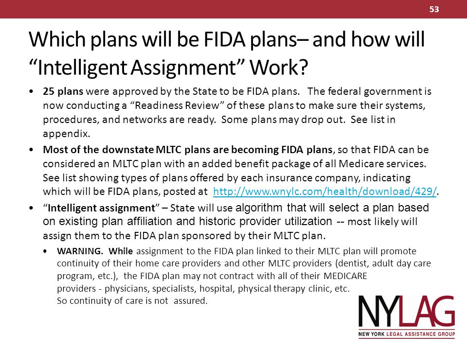 Which plans will be FIDA plans– and how will Intelligent Assignment Work