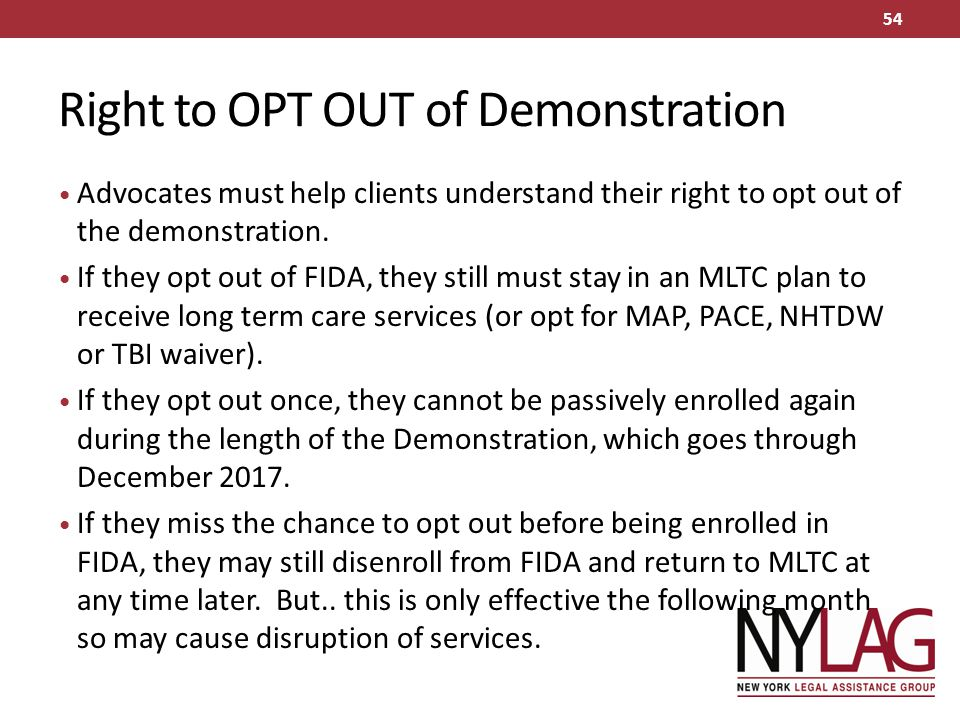 Right to OPT OUT of Demonstration