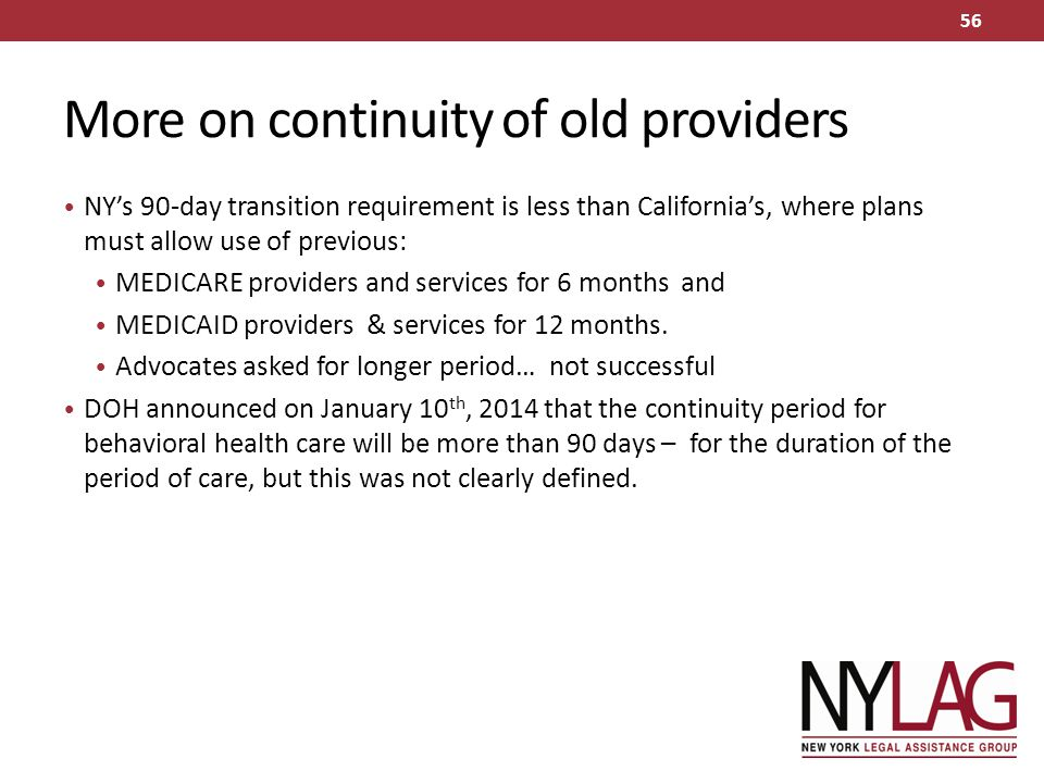 More on continuity of old providers