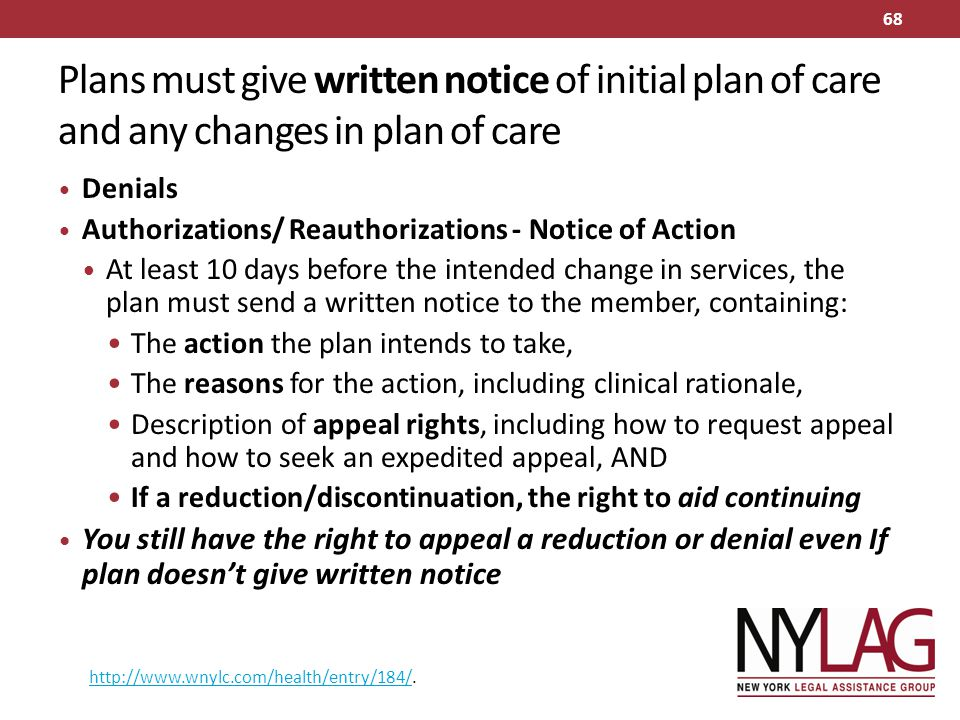 Plans must give written notice of initial plan of care and any changes in plan of care