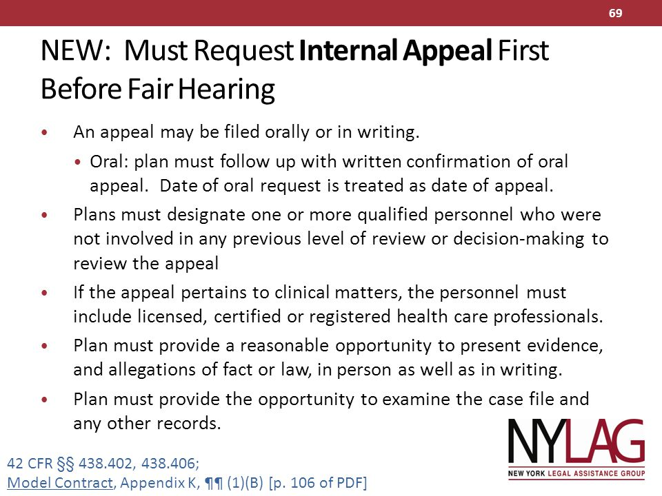 NEW: Must Request Internal Appeal First Before Fair Hearing