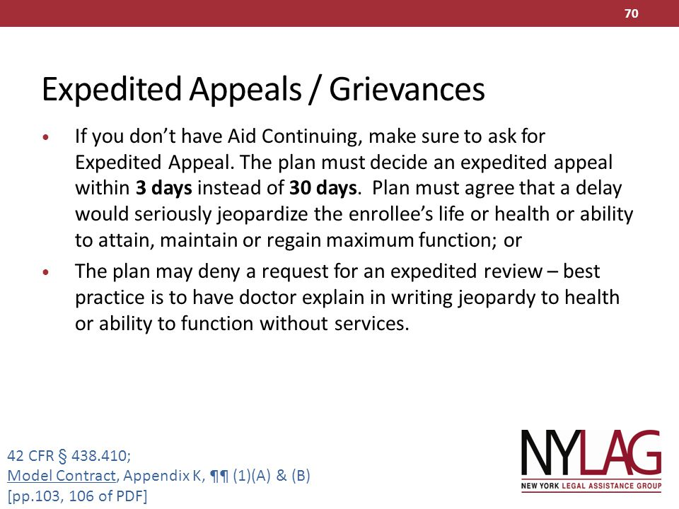 Expedited Appeals / Grievances