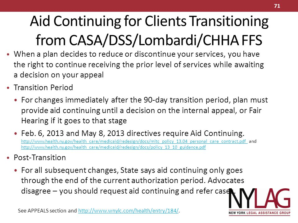 Aid Continuing for Clients Transitioning from CASA/DSS/Lombardi/CHHA FFS
