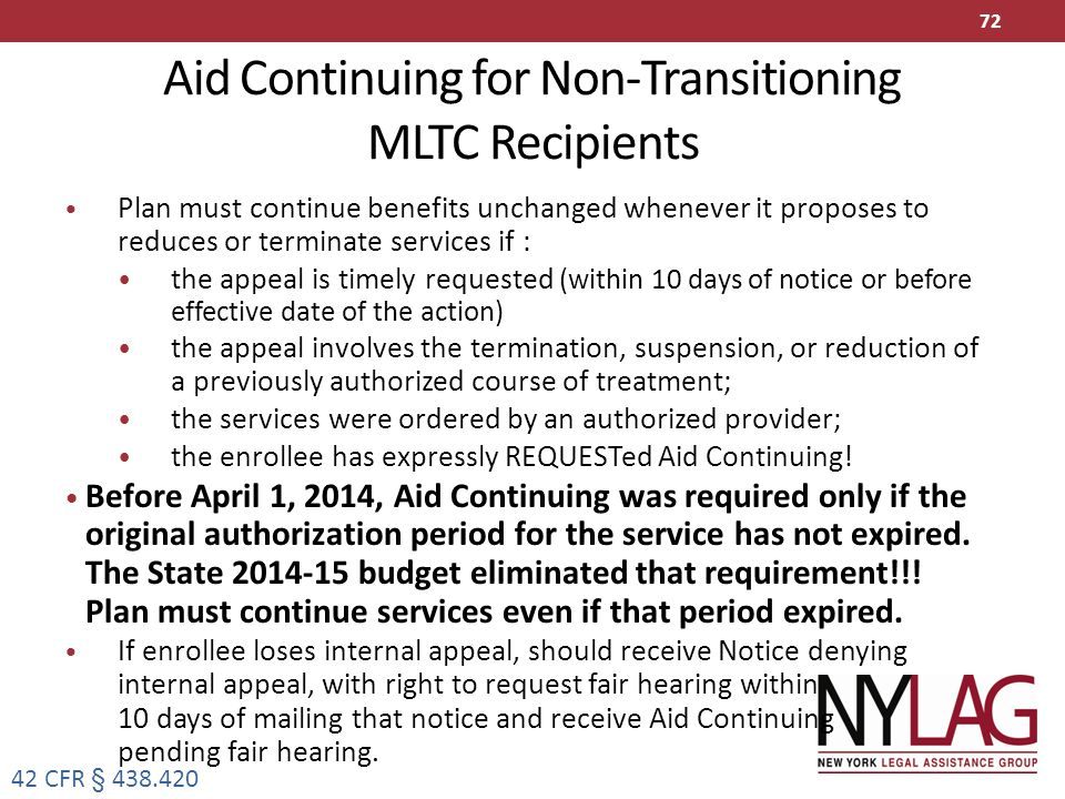 Aid Continuing for Non-Transitioning MLTC Recipients
