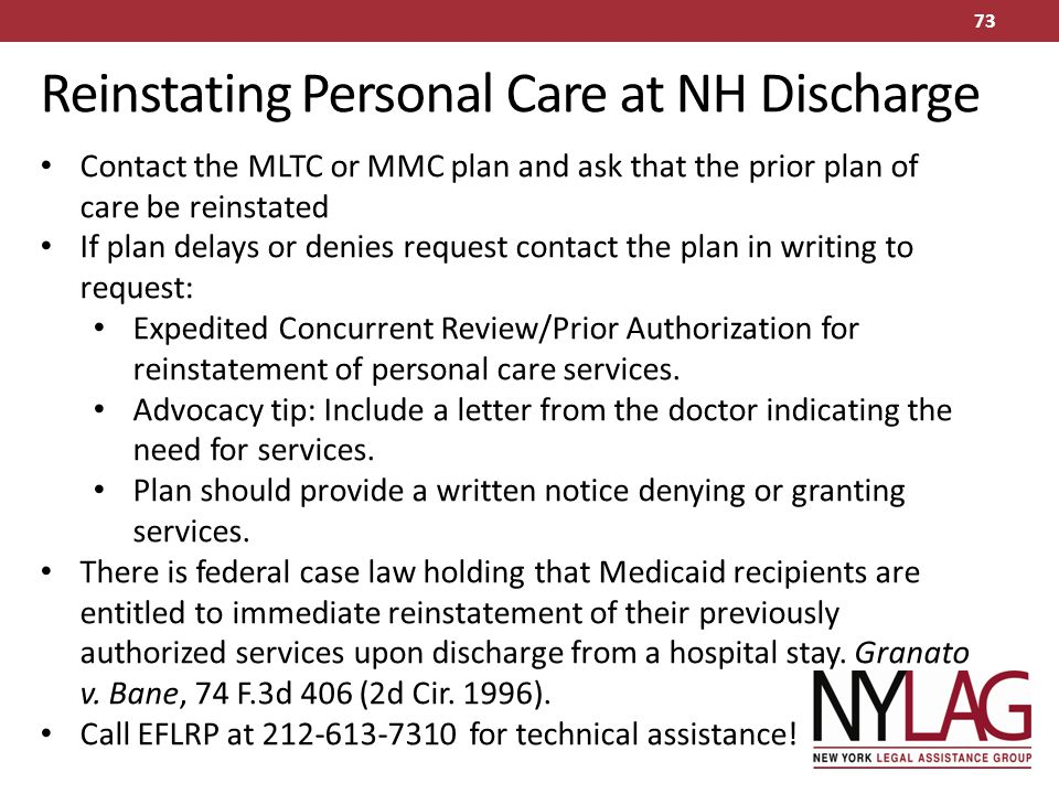 Reinstating Personal Care at NH Discharge