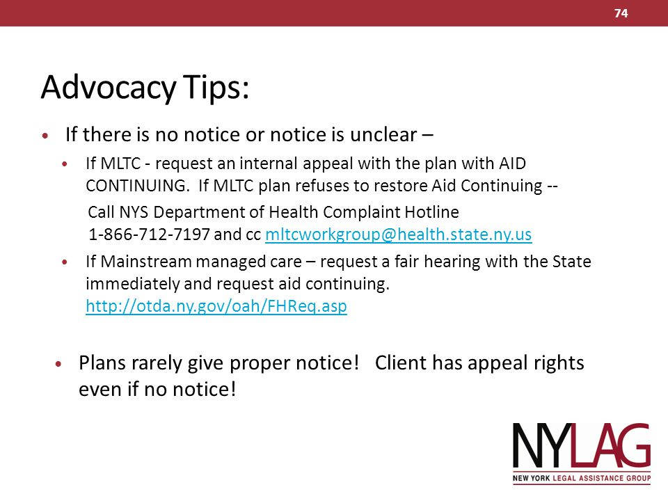 Advocacy Tips: If there is no notice or notice is unclear –