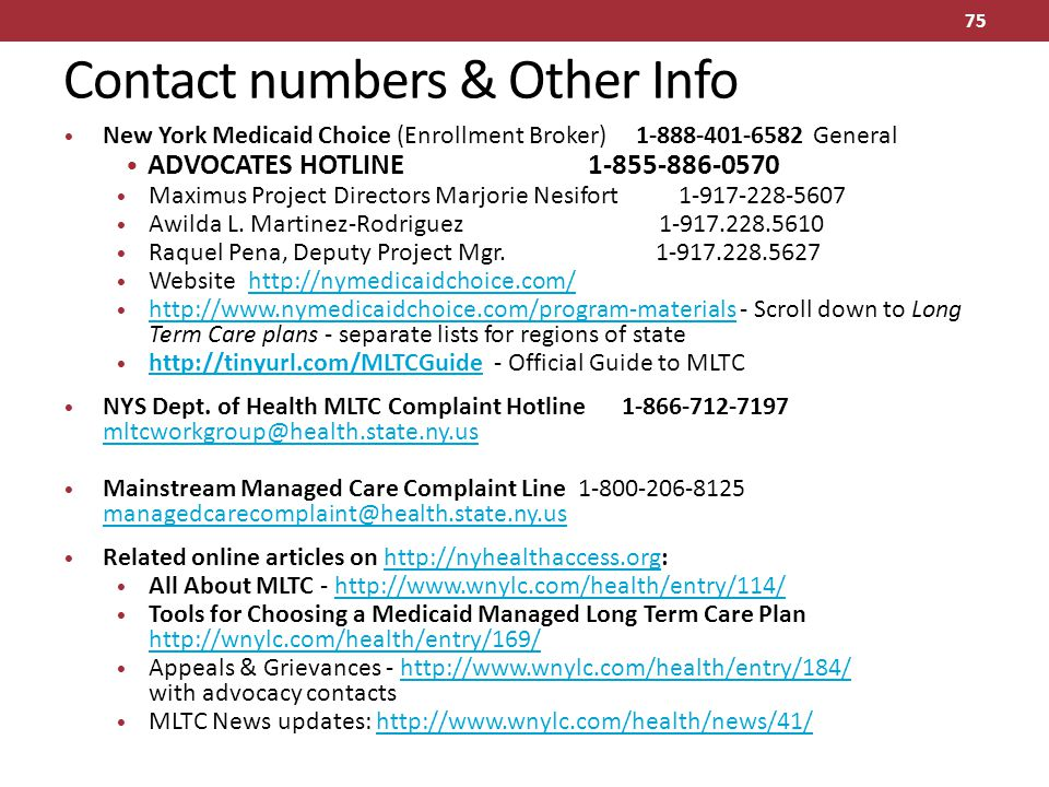 Contact numbers & Other Info